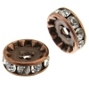 Rhinestone Rondelle (Flat Round) 10mm Antique copper/ Crystal
